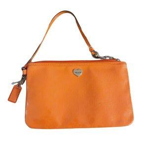 COACH Patent Leather Orange Wristlet